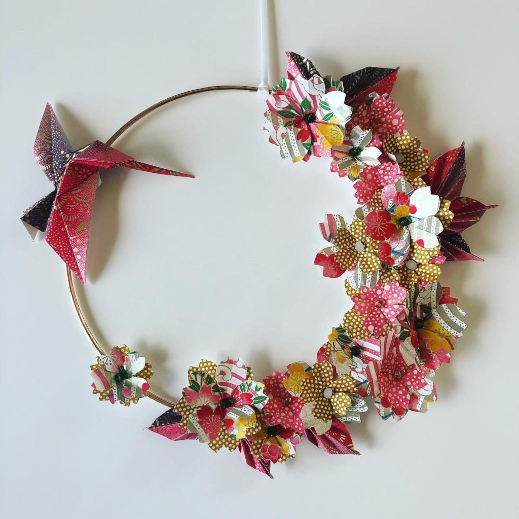 Couronne Kamakura avec fleurs en origami – Colibri Automnale