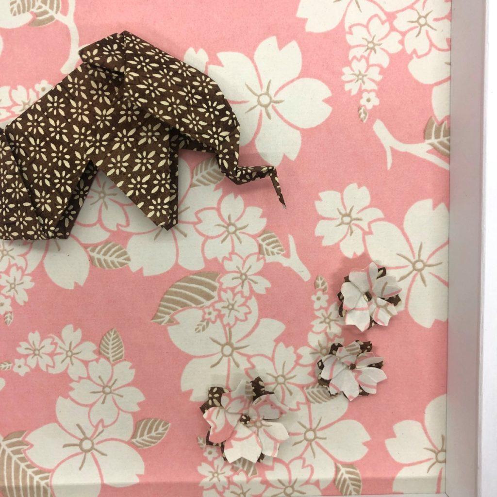 Cadre en bois Éléphant origami Rose