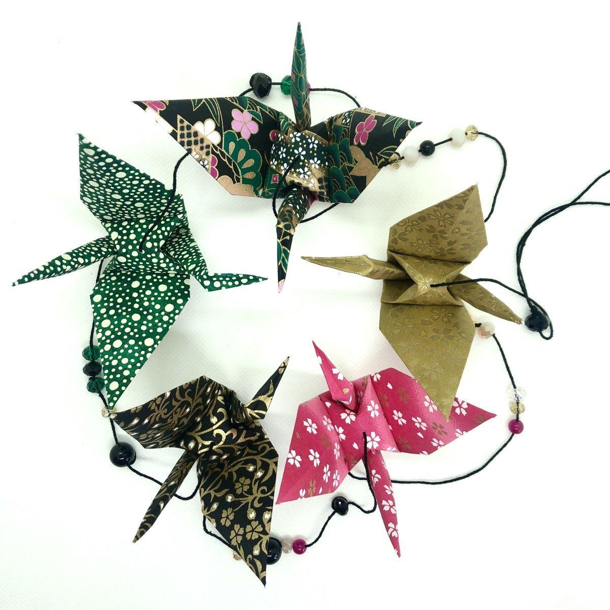 Guirlande d'origamis grues noir et rose