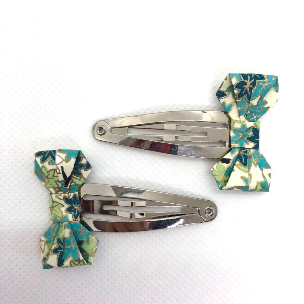 Lot de barrettes avec petits nœuds en origami bleu turquoise