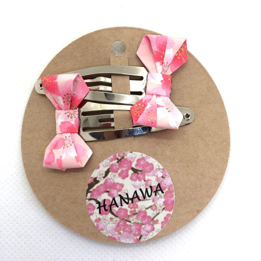 Lot de barrettes avec petits nœuds en origami roses