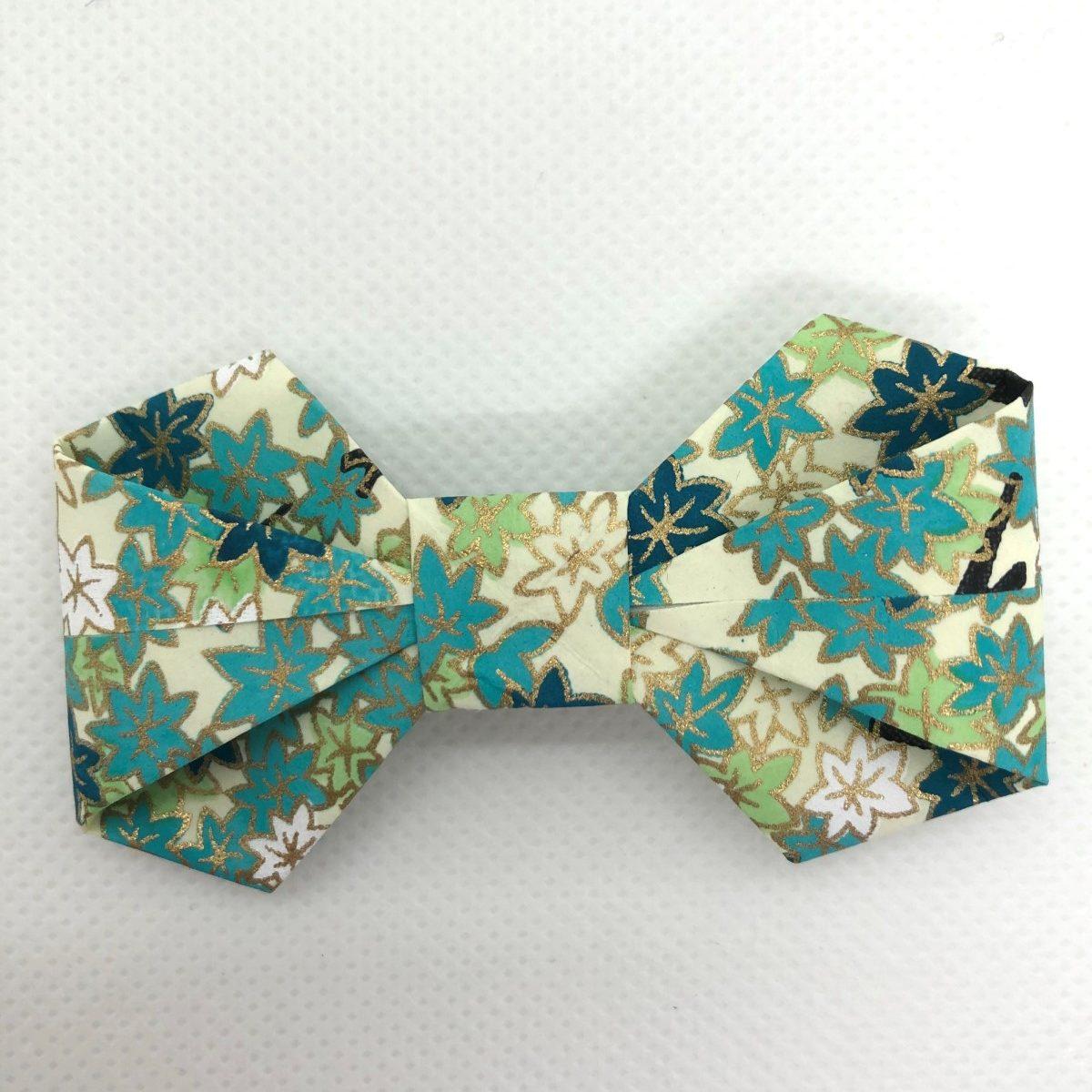 Barrette avec nœud en origami bleu turquoise
