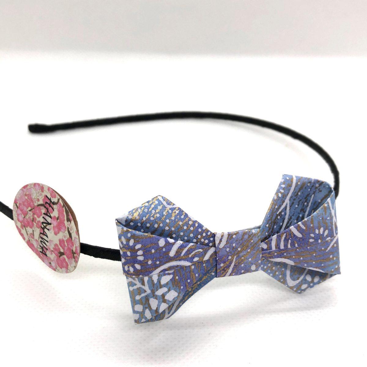 Serre-tête avec nœud en origami violine