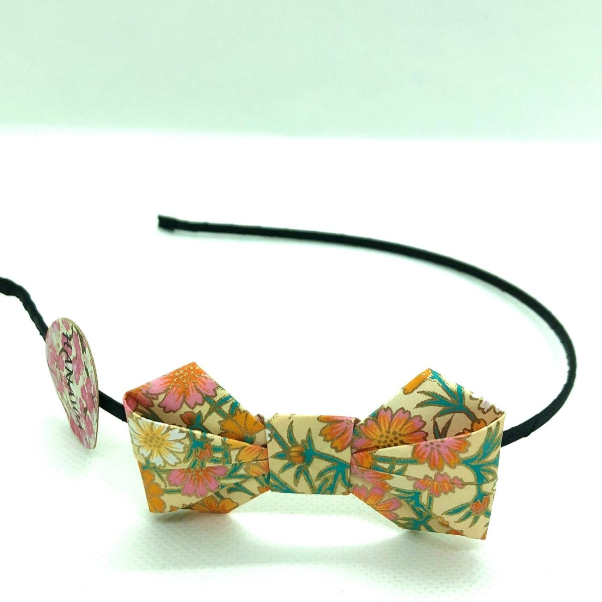 Serre-tête avec nœud en origami jaune