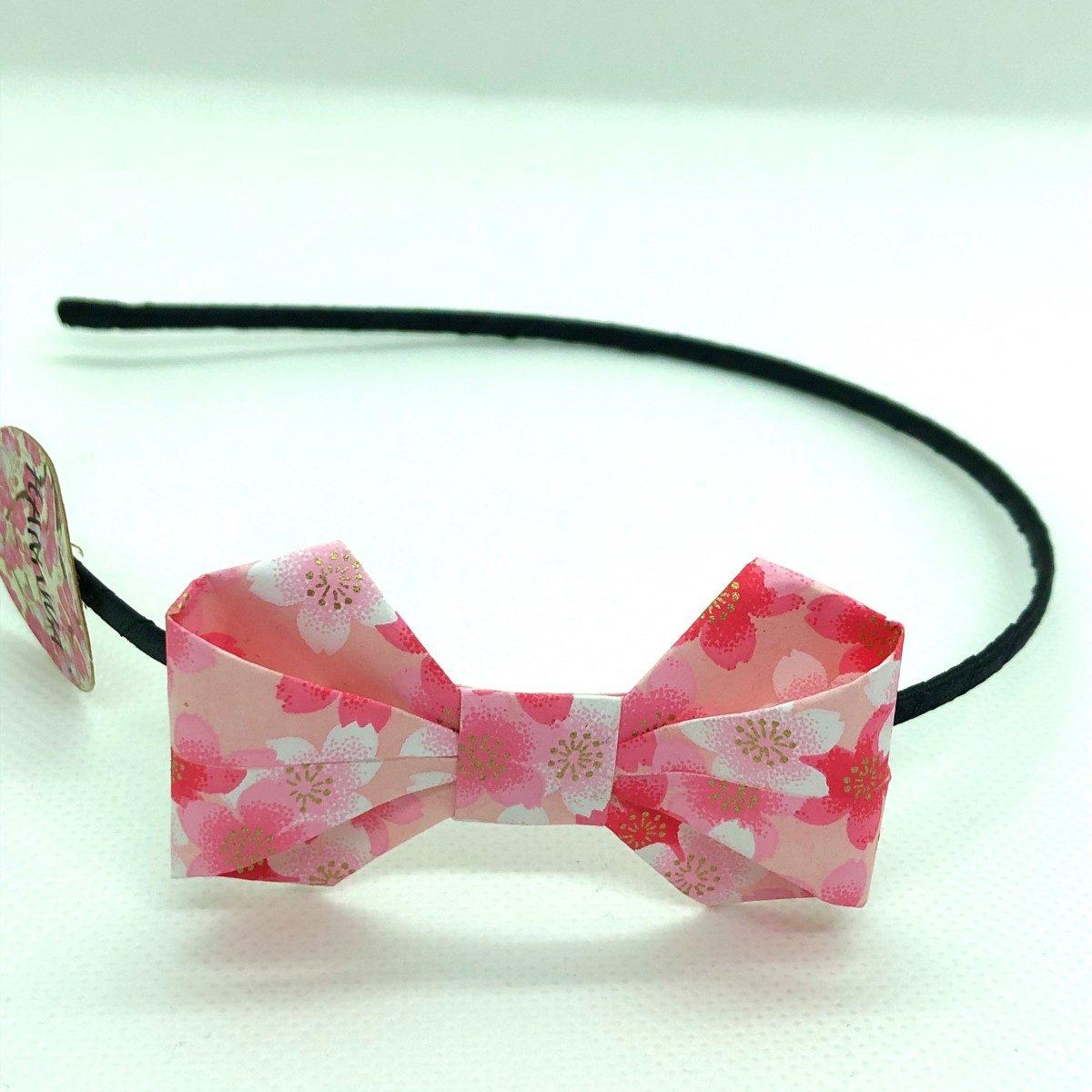 Serre-tête avec nœud en origami rose