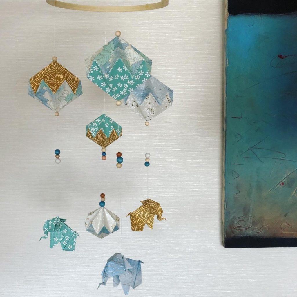 Suspension mobile éléphants bleu