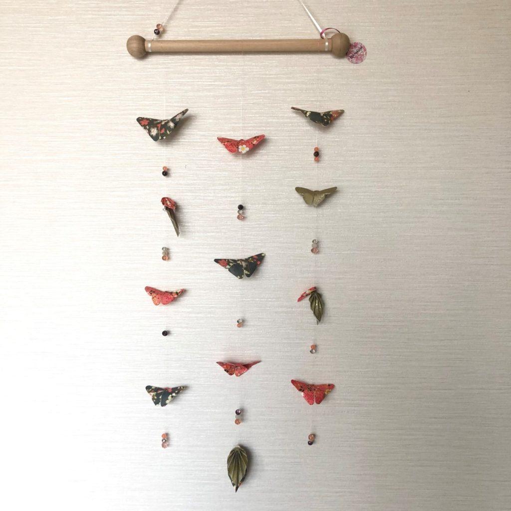 Suspension murale papillons rose saumon