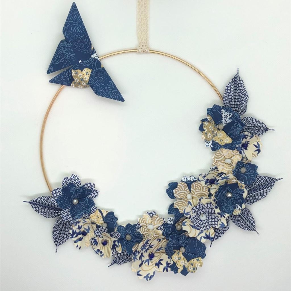 Couronne Kamakura avec fleurs en origami – Romantique