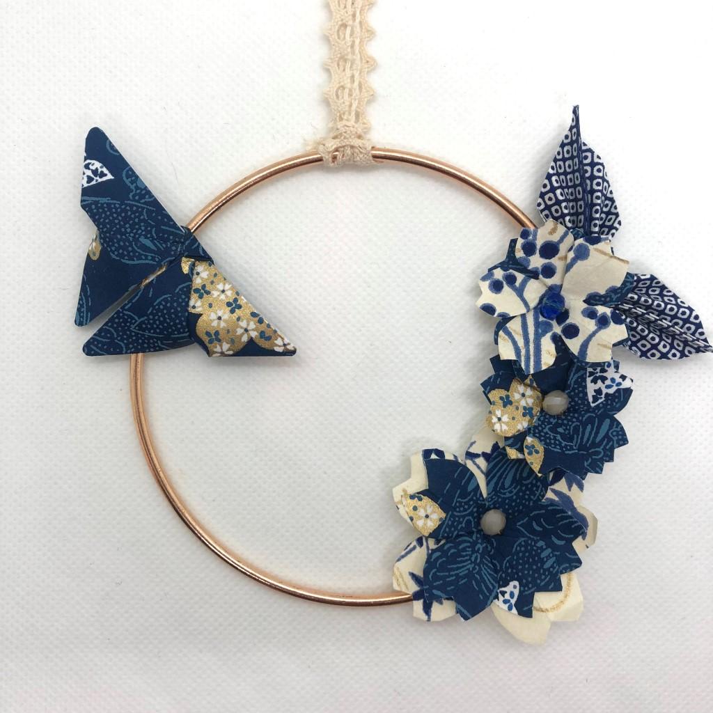 Couronne Izu avec fleurs en origami – Romantique