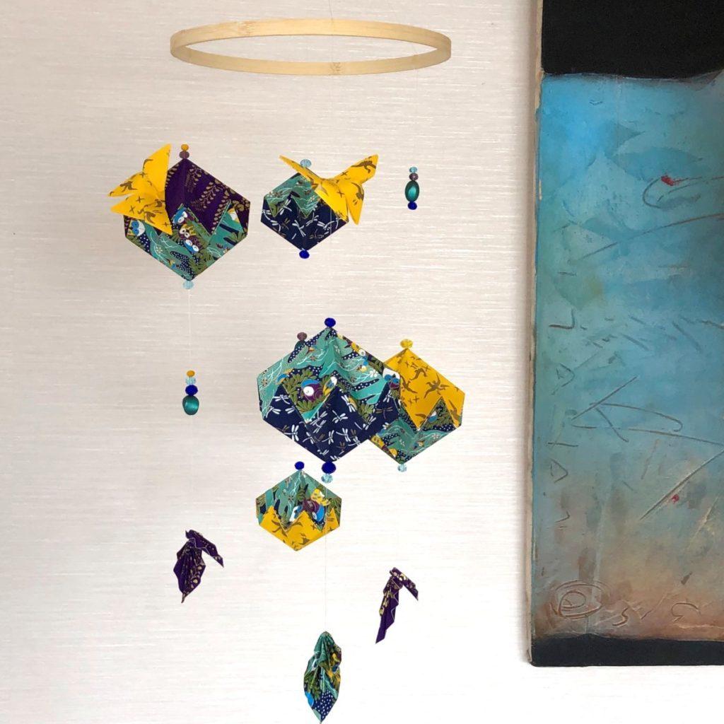 Suspension origami hiboux et papillons