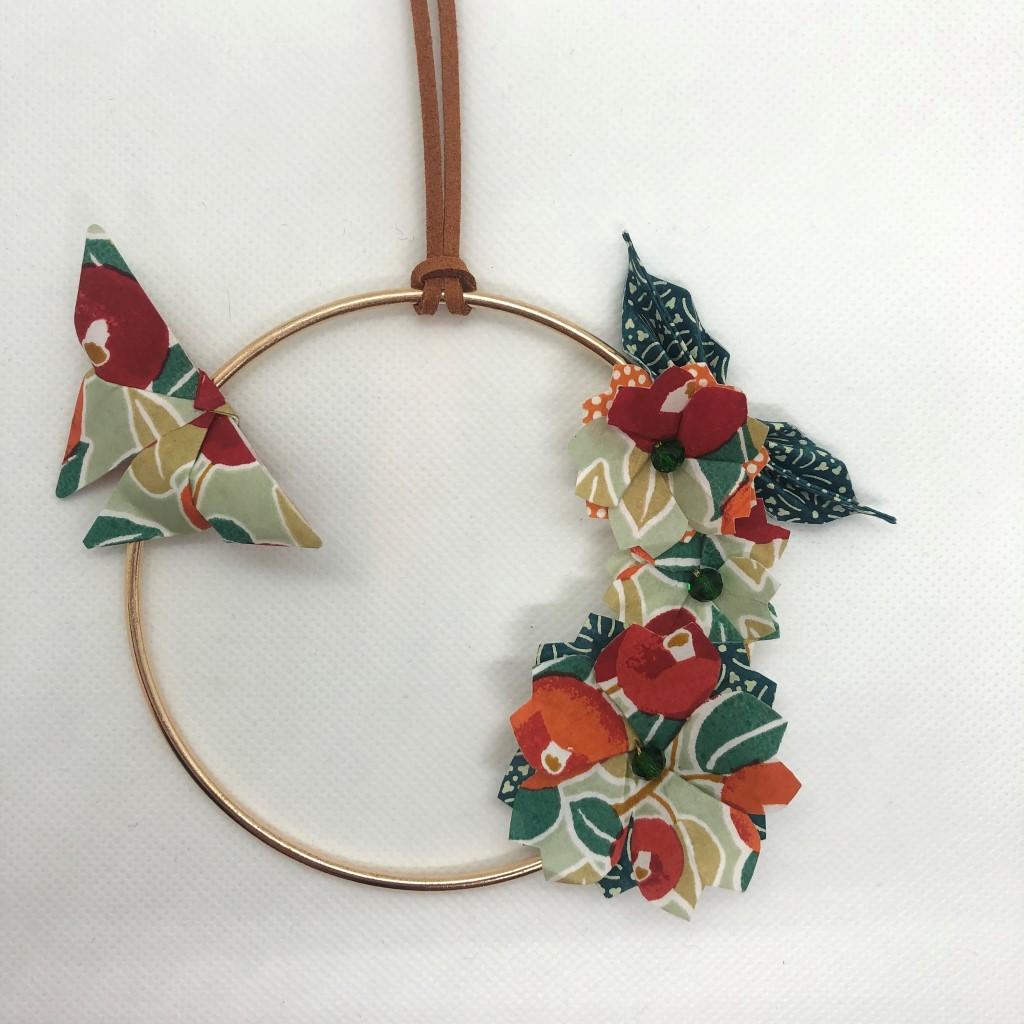 Couronne Izu avec fleurs en origami – Terracotta