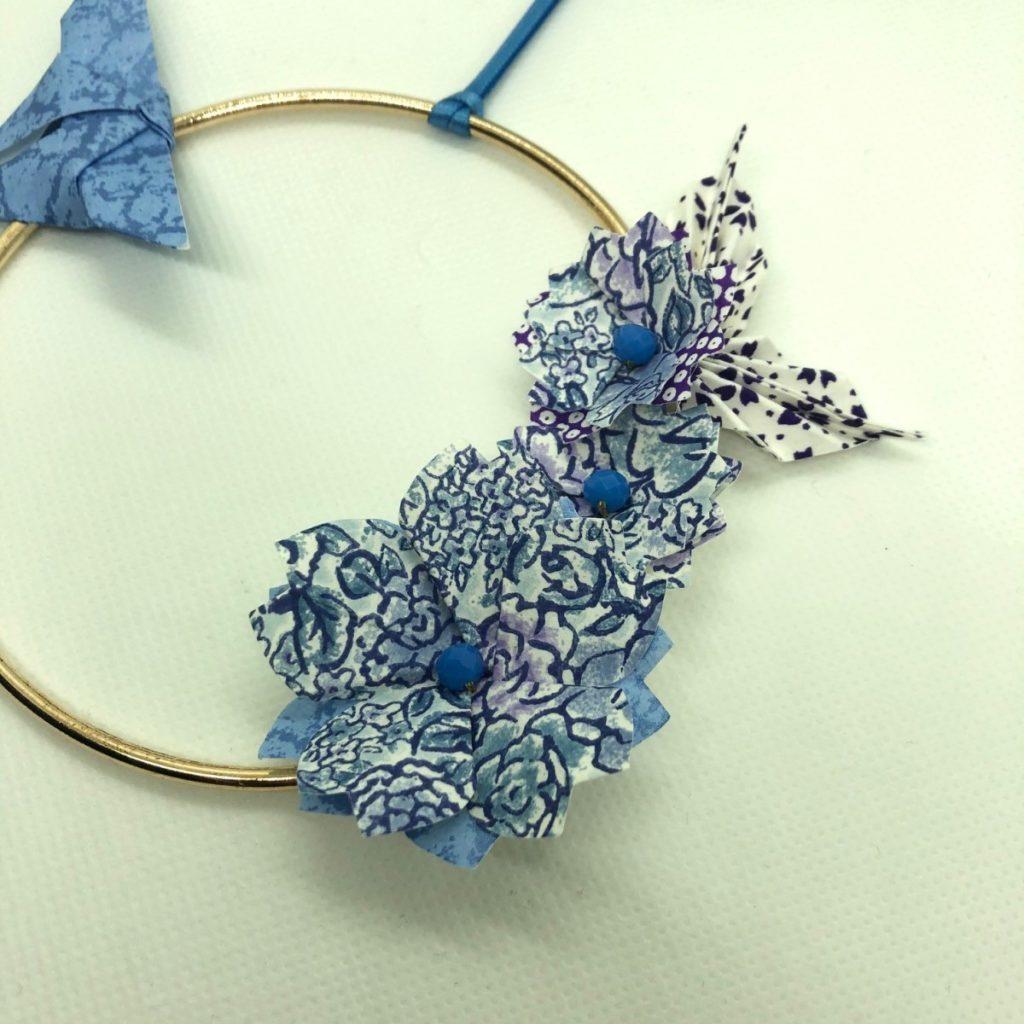 Couronne Izu avec fleurs en origami – Liberty bleu