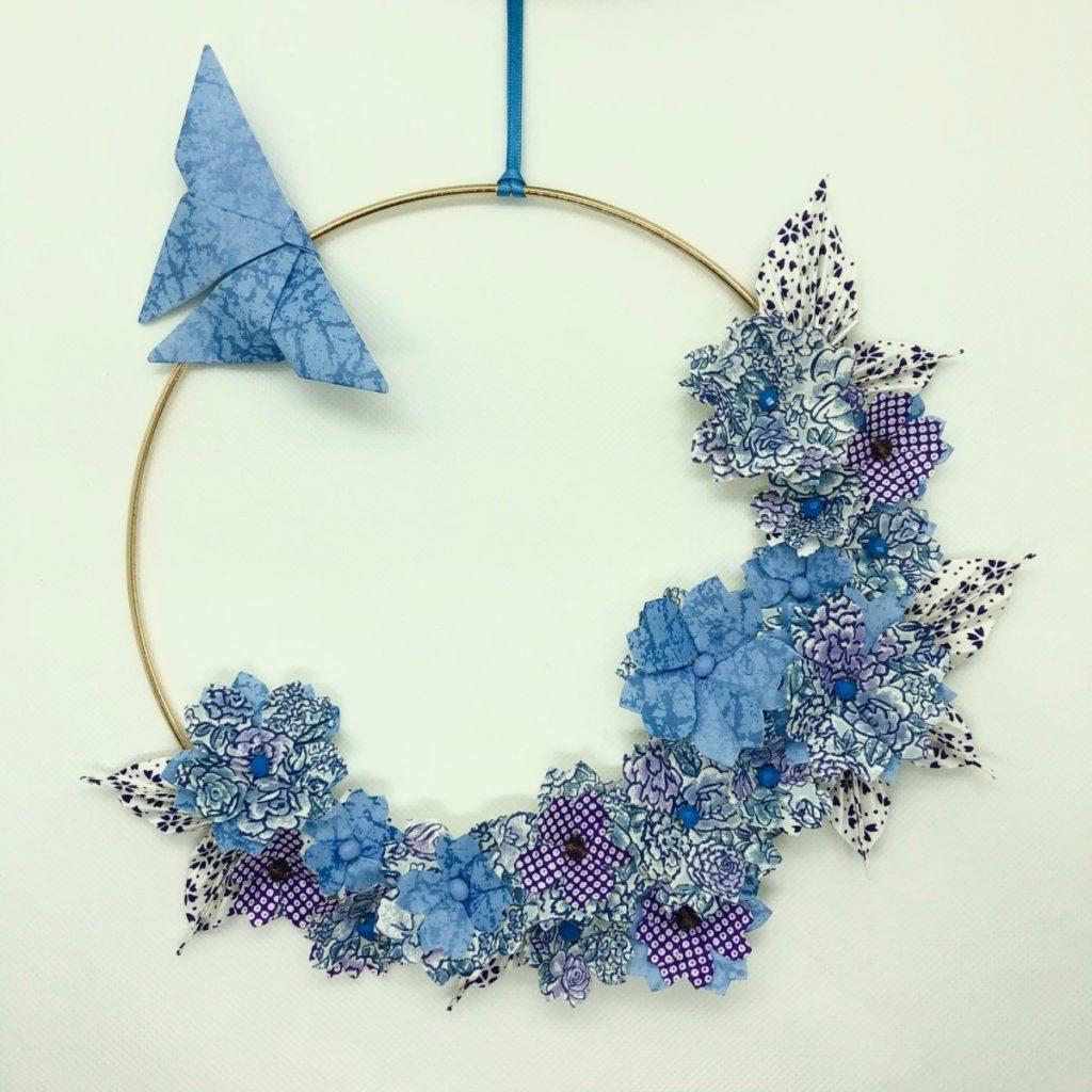 Couronne Kamakura avec fleurs en origami – Liberty Bleu