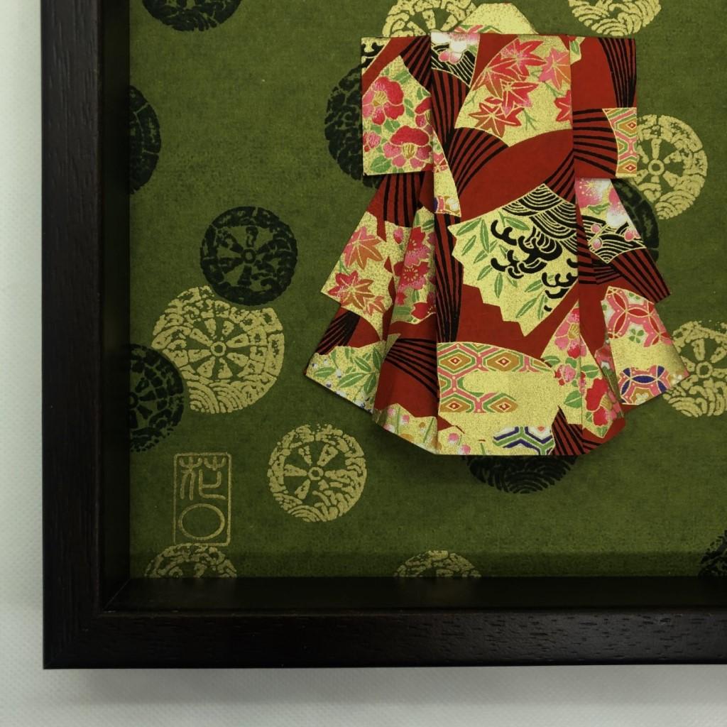 Cadre en bois Kimono origami Vert