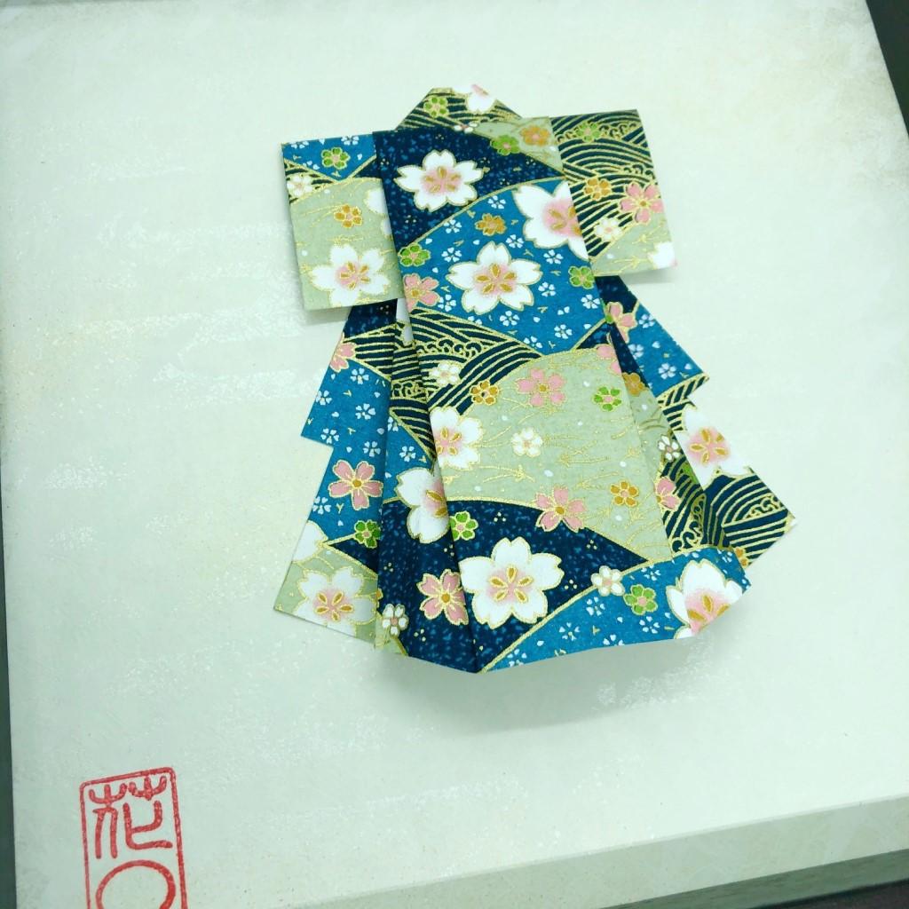 Cadre en bois Kimono origami bleu fleuri