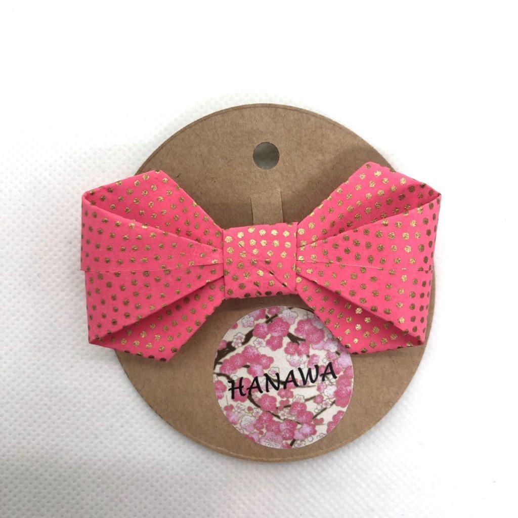 Barrette avec nœud en origami rose