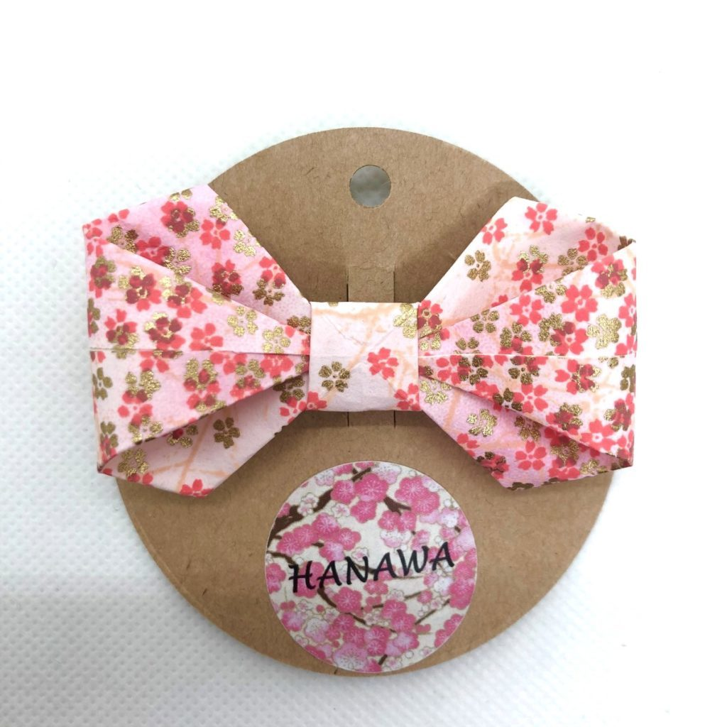 Barrette avec nœud en origami fleurs