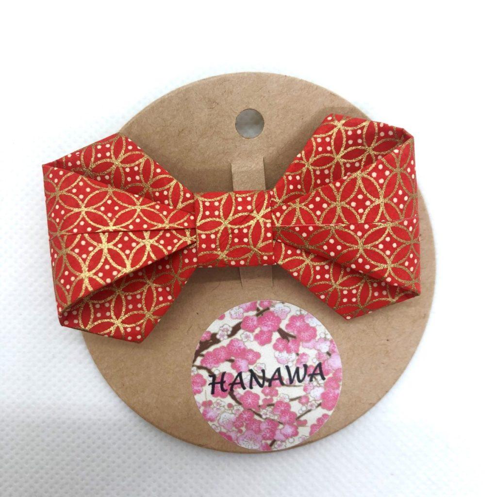 Barrette avec nœud en origami rouge et doré