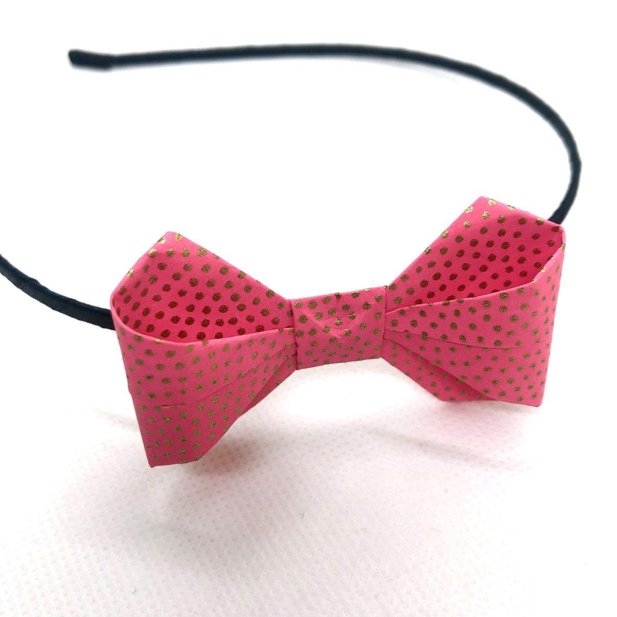 Serre-tête avec nœud en origami rose pois argentés