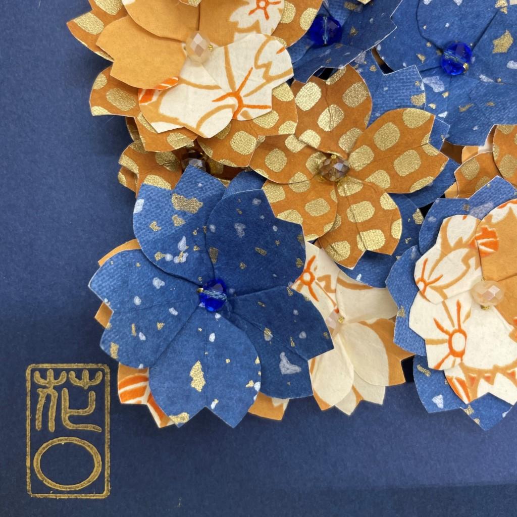 Cadre en bois champs de fleurs Bleu & Brun