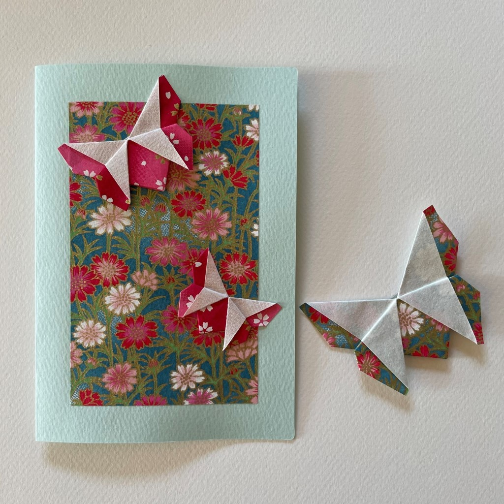 Carte de vœux + marque-page origami Papillon – Bleu
