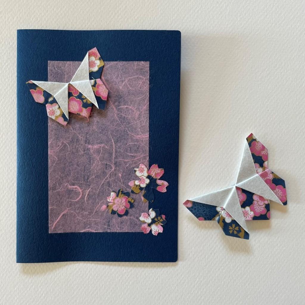 Carte de vœux + marque-page origami Papillon – Bleu marine