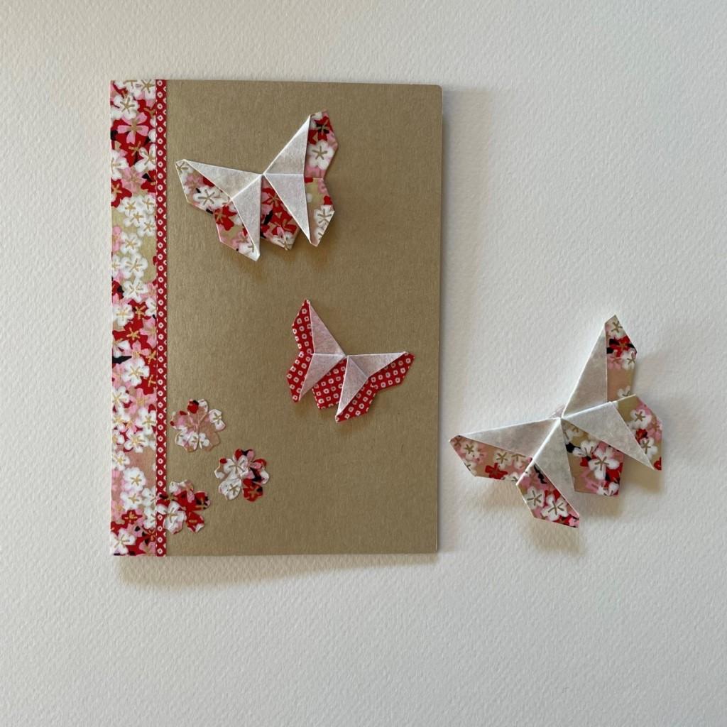 Carte de vœux + marque-page origami Papillon – Craft Rouge