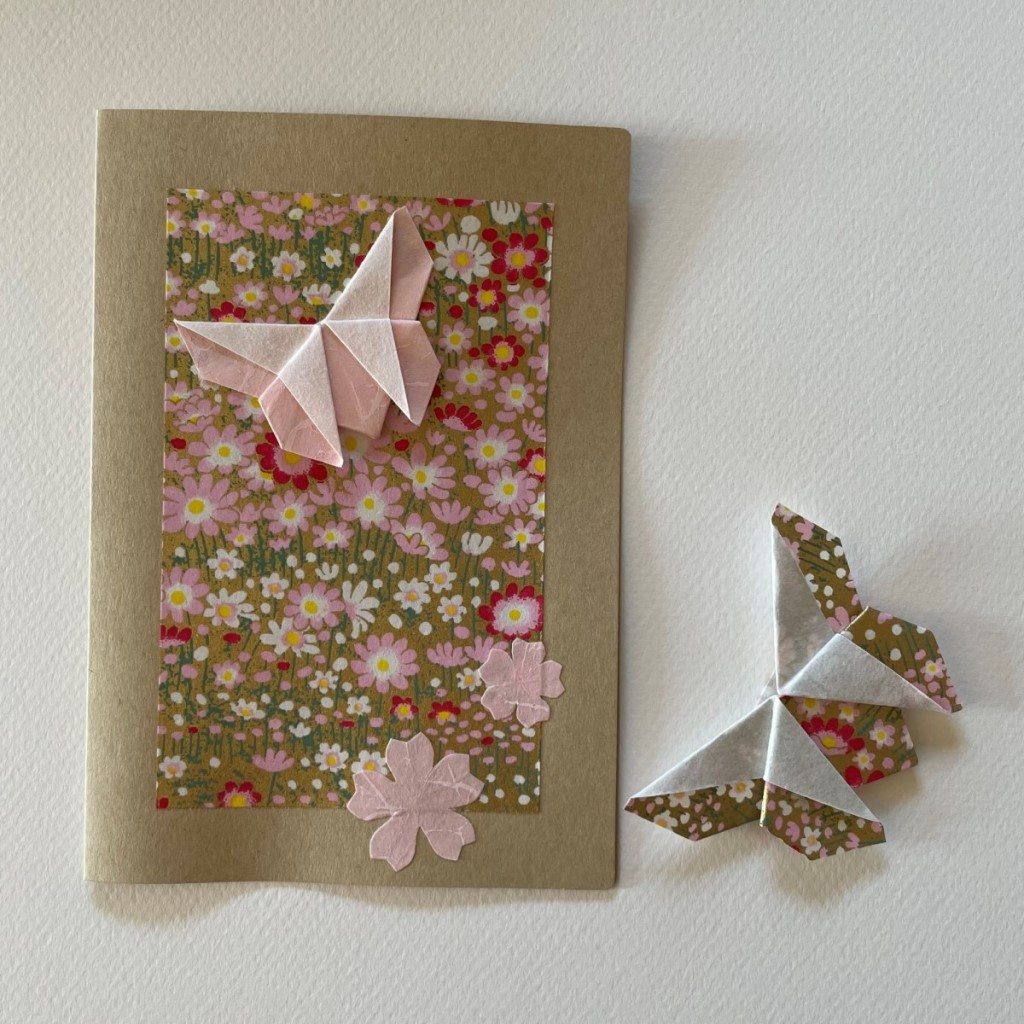 Carte de vœux + marque-page origami Papillon – Craft Rose
