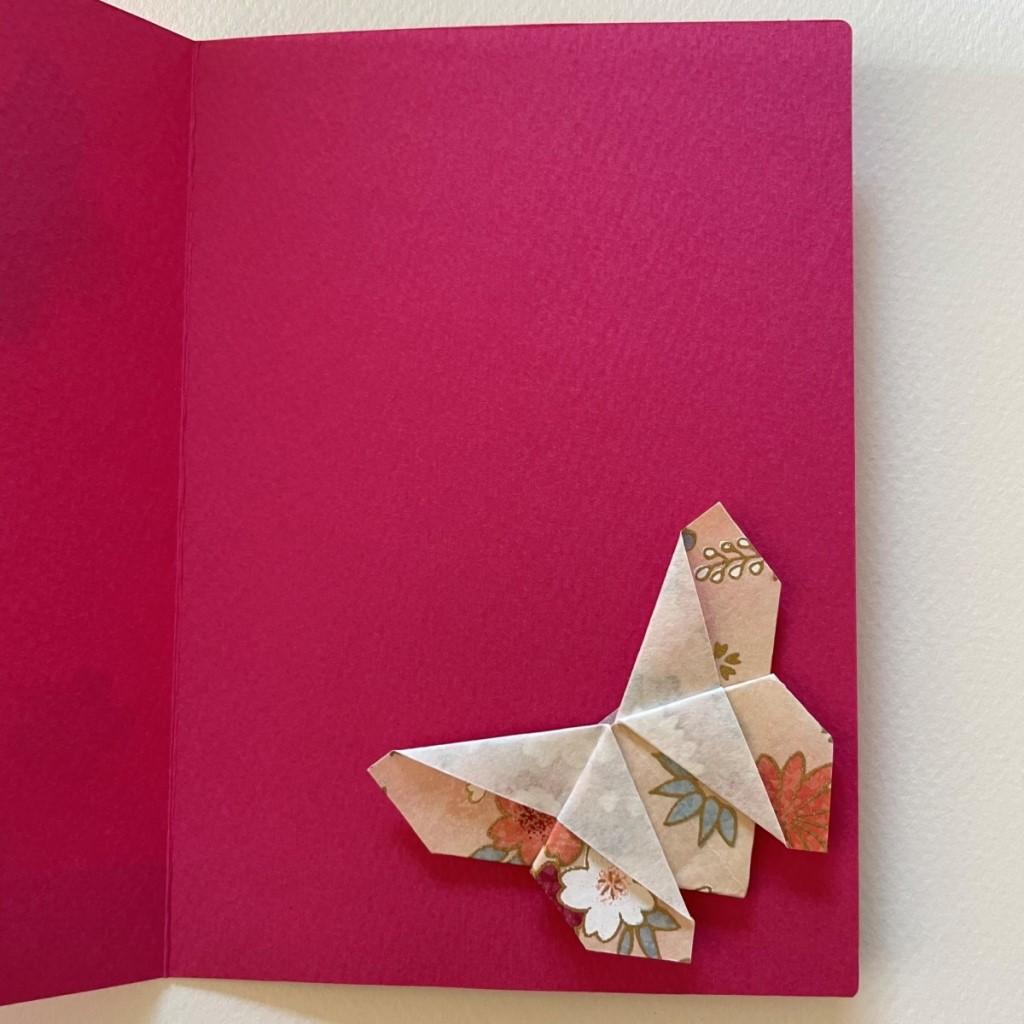 Carte de vœux + marque-page origami Papillon – Fuchsia