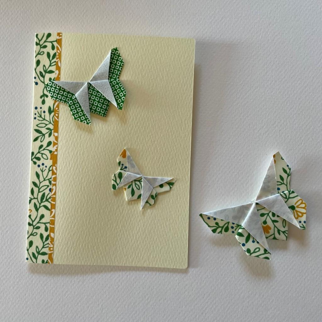 Carte de vœux + marque-page origami Papillon – Jaune