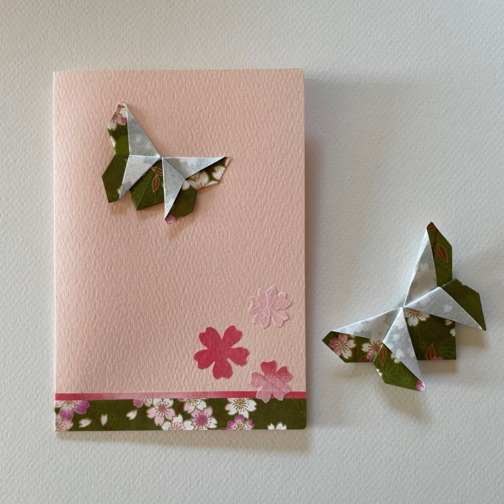 Carte de vœux + marque-page origami Papillon – Rose