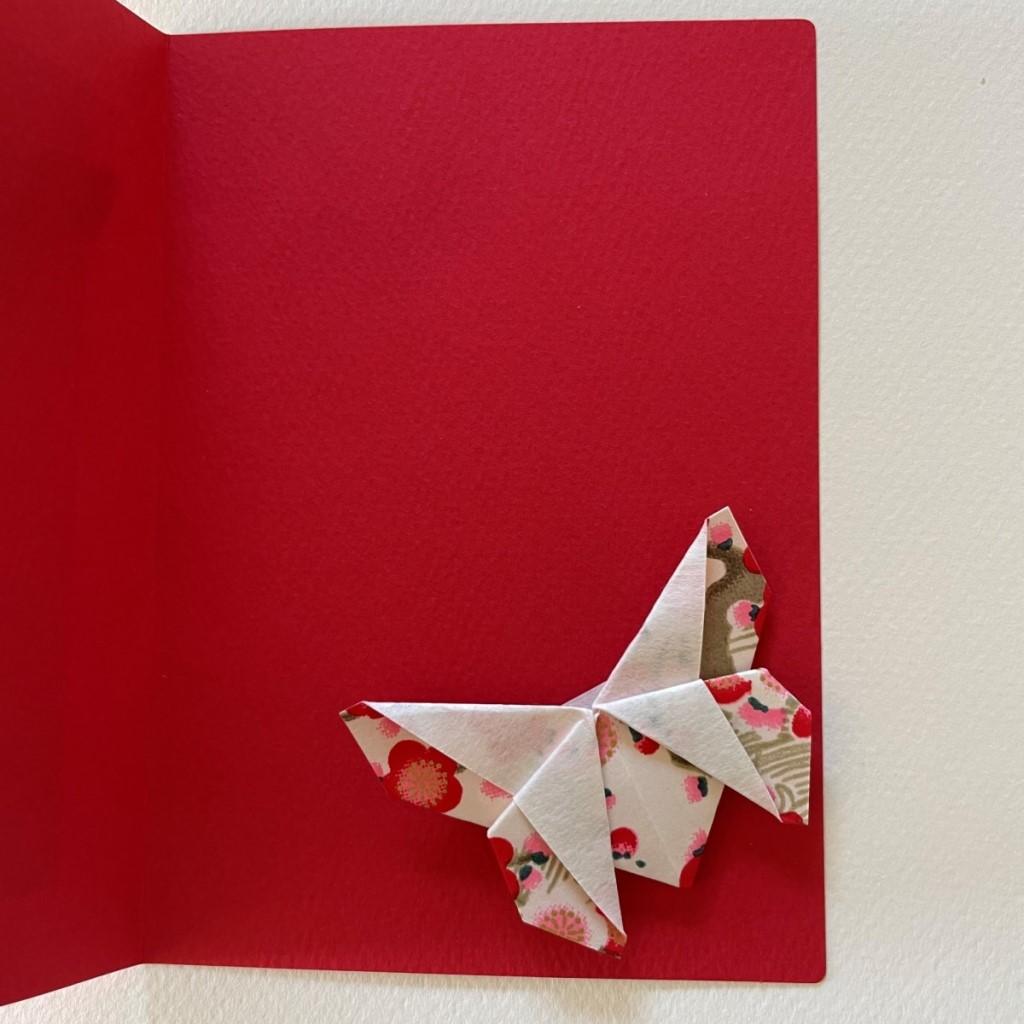 Carte de vœux + marque-page origami Papillon – Rouge