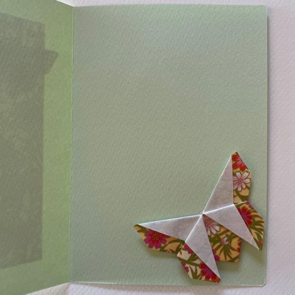 Carte de vœux + marque-page origami Papillon – Vert amande