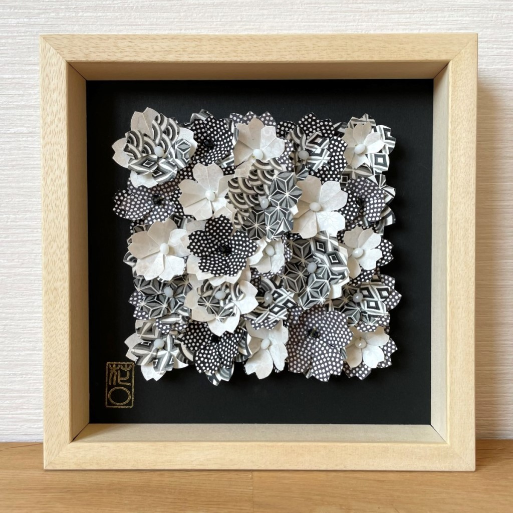 Cadre en bois champs de fleurs Noir et Blanc