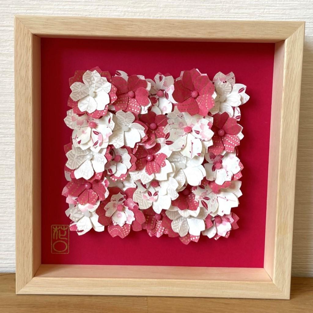 Cadre en bois champs de fleurs Rose