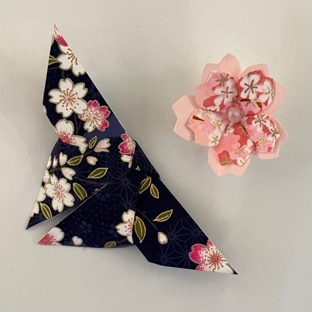 Lots de 2 magnets Origami Papillon et Fleur- Bleu & Rose