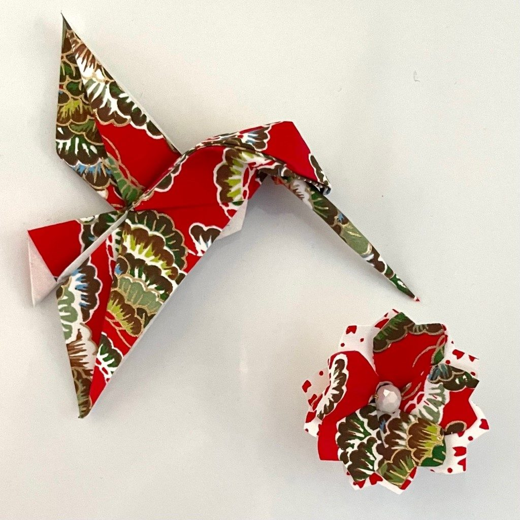 Lots de 2 magnets Origami Colibri et Fleur- Rouge
