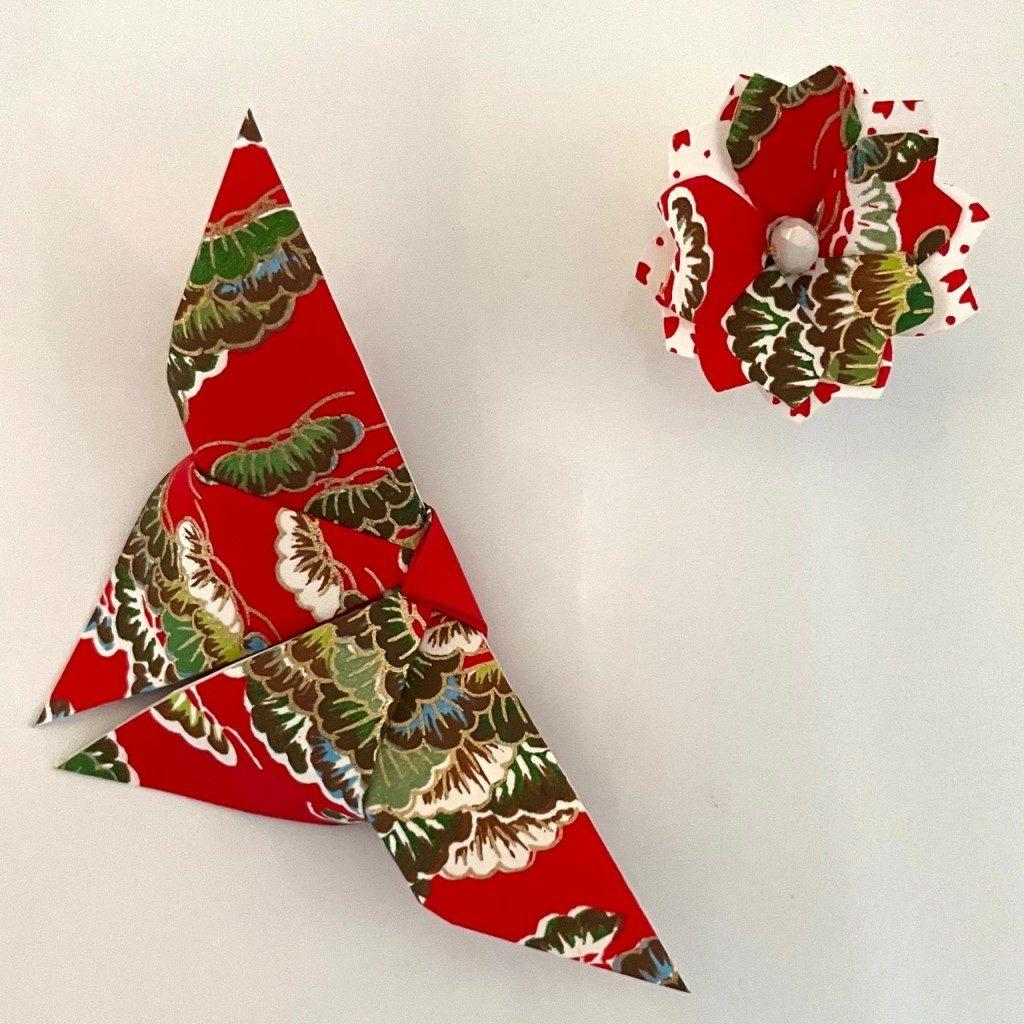 Lots de 2 magnets Origami Papillon et Fleur- Rouge