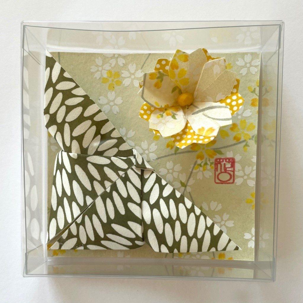 Lots de 2 magnets Origami Papillon et Fleur- Vert & Jaune
