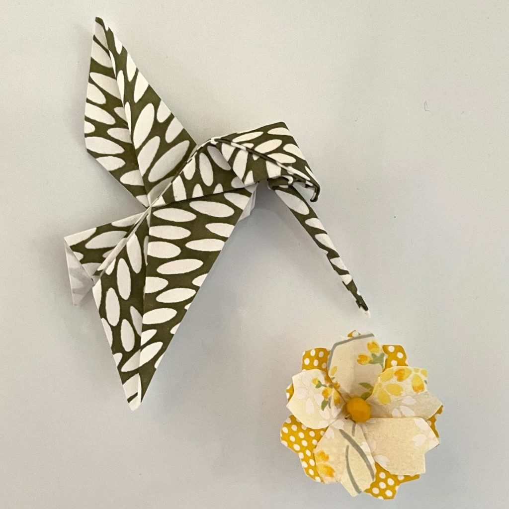 Lots de 2 magnets Origami Colibri et Fleur- Vert & Jaune